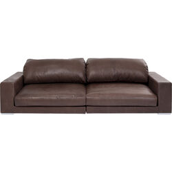 Sofa Grandezza 3-Seater Real Leather Darkbrown