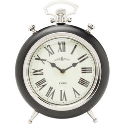 Table Clock Pocket Round Black