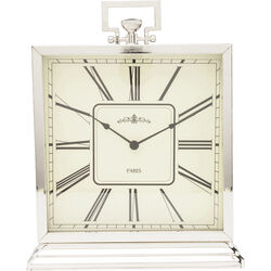Table Clock Pocket Square Silver Big