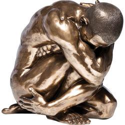 Deco Figurine Nude Man Hug Bronze 54cm