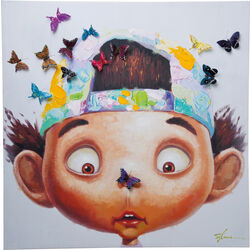 Quadro ritoccato di olio Boy with Butterflies 100x