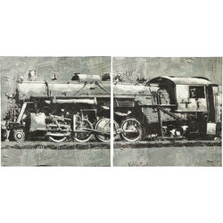 Oil Painting Train 100x100cm (2/Set)