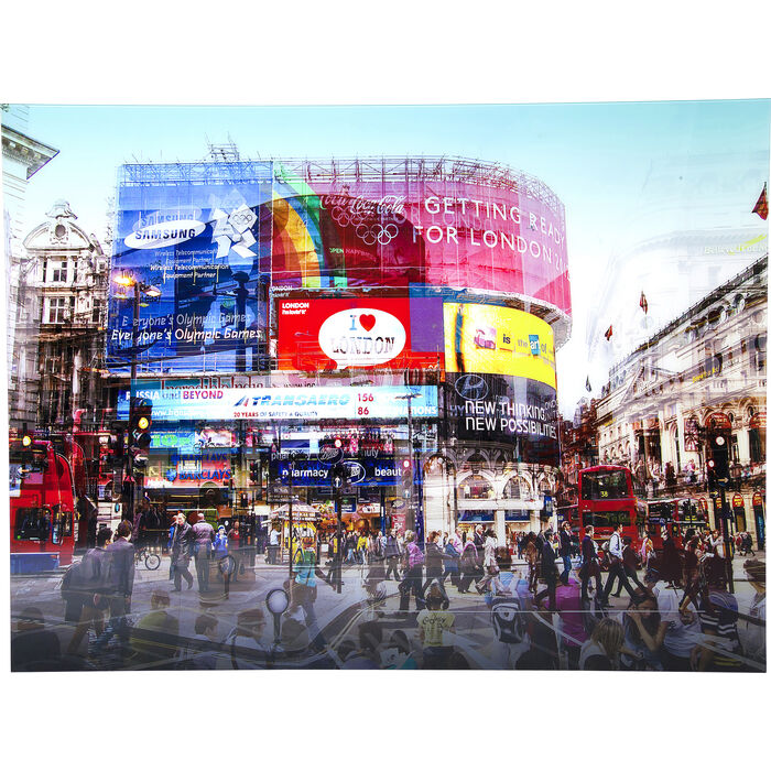 picture glass piccadilly circus 120x160cm kare design. Black Bedroom Furniture Sets. Home Design Ideas