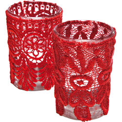 Tealight Holder Boudoir Lace Red Assorted