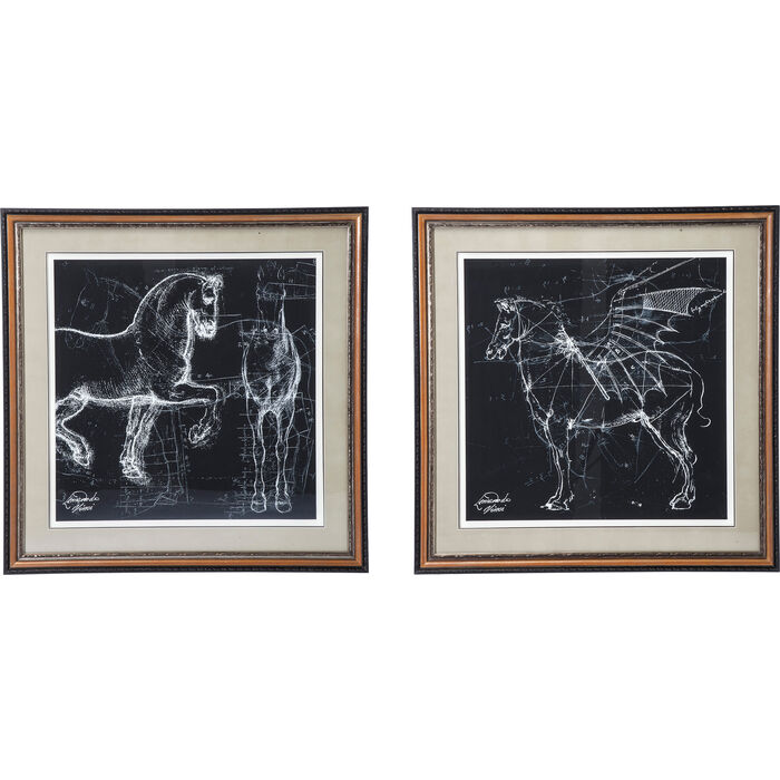 Picture Frame Horse Studies 110x110cm Assorted Kare Design