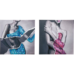 Picture Touched Glam Body Lady  assorted 100x100cm