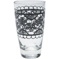 Long Drink Glass Lace Black