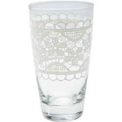 Long Drink Glass Lace White