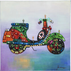 Oil Painting Inside Little Cars 60x60cm