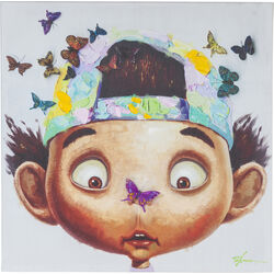 Picture Touched Boy with Butterflys 70x70cm