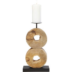 Candle Holder Wooden Rings Double