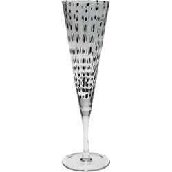 Champagne Glass Black Dots