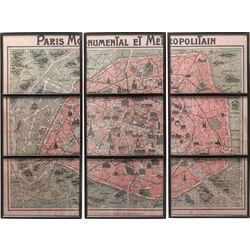 Wall Decoration Paris Maps Frame (3-Set) 112x146cm