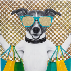 Picture Shopping Dog 40x40cm