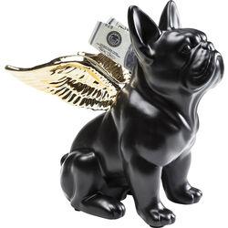 Money Box Sitting Angel Dog Gold-Black
