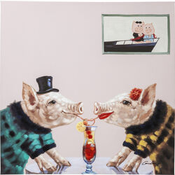 Picture Touched Pigs In Love 90x90cm