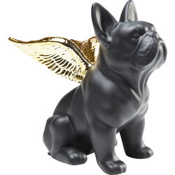 Deco Figurine Sitting Angel Dog Gold-Black