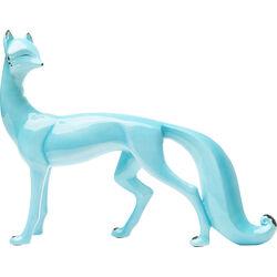 Deco Figurine Standing Fox Light Blue