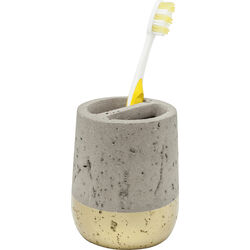 Tooth Brush Holder Concrete Gold