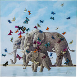 Quadro ritoccato di olio Elefants with Butterflies