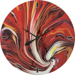Wall Clock Glass Chaos Fire Ø80cm
