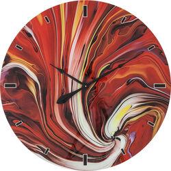 Wall Clock Glass Chaos Fire Ø80cm