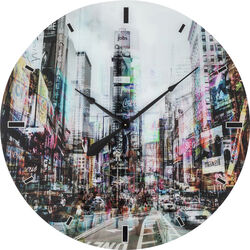Wall Clock Glass Times Square Ø80cm