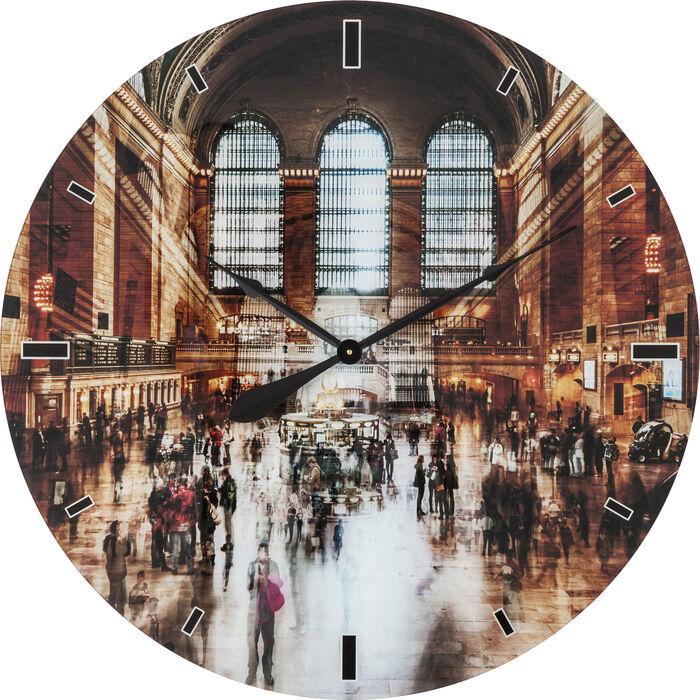 wall clock glass grand central 80cm kare design. Black Bedroom Furniture Sets. Home Design Ideas