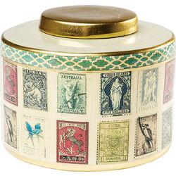 Deco Jar Vintage Stamps 17cm