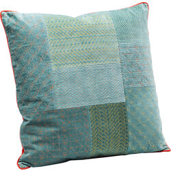 Cushion Patchwork Bright Turquoise 50x50cm
