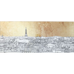 Picture Glass Metallic Paris View 50x120cm