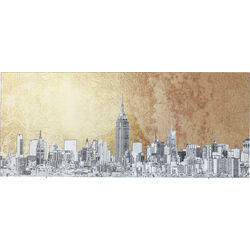 Picture Glass Metallic NY View 50x120cm