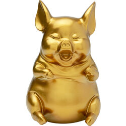 Money Box Pig Sitting Gold