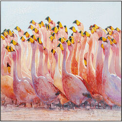Acrylic Painting Frame Swarm Of Flamingos 180x180