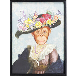 Picture Frame Art Monkey Lady 80x60cm