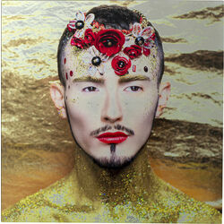 Picture Glas Metallic Flower Man 80x80cm