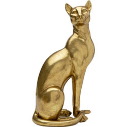 Deco Object Sitting Cat Gold 44cm