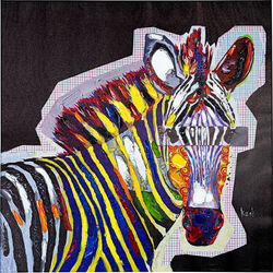 Picture Touched  Wildlife Zebra 80x80cm