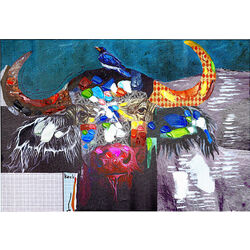 Picture Touched Wildlife Buffalo 70x100cm
