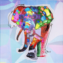 Picture Touched Wildlife Elephant 80x80cm