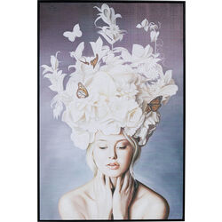 Picture Frame Art Lady White Flowers 120x80cm