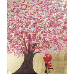 Picture Touched Flower Couple Gold Pink 100x80cm
