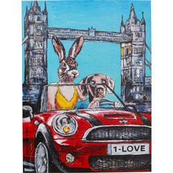 Picture Touched Animal Pair London 80x60cm