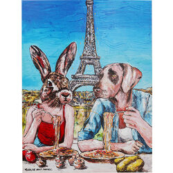 Picture Touched Animal Pair Paris 80x60cm