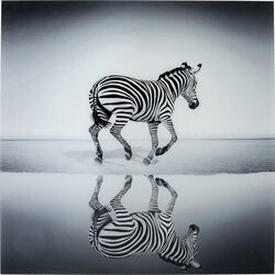 Picture Glass Savanne Zebra 120x120