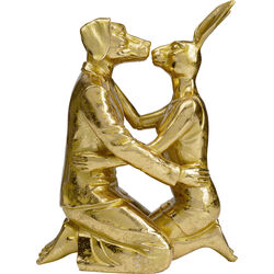 Deco Object  Kissing Rabitt and Dog Gold