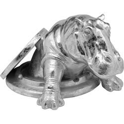 Deco Object Struggling Hippo Silver