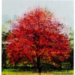 Picture Glass Red Tree 80x80