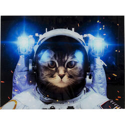 Picture Glass Cat in Space 80x60
