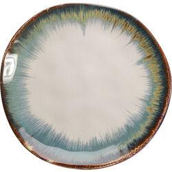 Plate Organic White Blue  Ø20